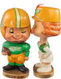Football Collectibles:Others, 1960's Green Bay Packers Kissing Nodders Set with Original Box from The Glen Christensen Collection. ...