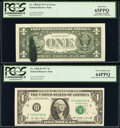 Error Notes:Ink Smears, Ink Smear Error with Bookends Fr. 1909-H $1 1977 Federal Reserve Notes. PCGS Gem New 66PPQ; Gem New 65PPQ; Very Choice New 64P... (Total: 3 notes)