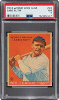 Baseball Cards:Singles (1930-1939), 1933 World Wide Gum Babe Ruth #93 PSA NM 7. All fo...