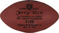 Football Collectibles:Balls, 2001 Jerry Rice Oakland Raiders Game Ball from 9/30 vs. the Seahawks -- First Touchdown as a Raider & Career TD #188....