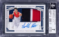 Basketball Cards:Singles (1980-Now), 2020 Panini National Treasures Collegiate LaMelo Ball (Jersey Autograph) #44 BGS Near Mint 7, Auto 10 - #'d 7/35....