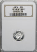Proof Roosevelt Dimes, 1964 10C PR69 W Cameo NGC. NGC Census: (351/0). PCGS Population(288/1). Numismedia Wsl. Price for NGC/PCGS coin in PR69: ...