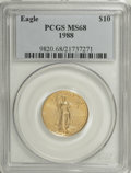 Modern Bullion Coins: , 1988 G$10 Quarter-Ounce Gold Eagle MS68 PCGS. PCGS Population (233/476). NGC Census: (21/713). Mintage: 49,000. Numismedia ...