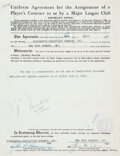 Baseball Collectibles:Others, 1951 Mickey Mantle Player's Contract Assignment to the New York Yankees....
