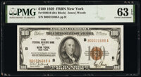 Fr. 1890-B $100 1929 Federal Reserve Bank Note. PMG Choice Uncirculated 63 EPQ