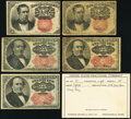 Fractional Currency:Fifth Issue, Fifth Issue Fine or Better.. Fr. 1266 10¢ (2);. Fr. 1308 25¢ with Tatham Stamp & Coin Co. Inventory Card;. Fr. 130... (Total: 5 notes)