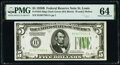 Fr. 1952-H $5 1928B Federal Reserve Note. PMG Choice Uncirculated 64