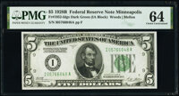 Fr. 1952-I $5 1928B Federal Reserve Note. PMG Choice Uncirculated 64