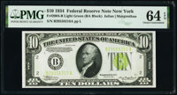 Fr. 2004-B $10 1934 Federal Reserve Note. PMG Choice Uncirculated 64 EPQ