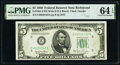 Fr. 1961-E $5 1950 Wide II Federal Reserve Note. PMG Choice Uncirculated 64 EPQ
