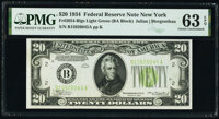 Fr. 2054-B $20 1934 Federal Reserve Note. PMG Choice Uncirculated 63 EPQ