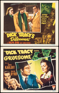 """Dick Tracy Meets Gruesome & Other Lot (RKO, 1947). Fine/Very Fine. Lobby Cards (2) (11"""" X 14""""), Uncut Pres..."""
