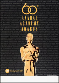 """The Oscars (AMPAS, 1988/1992). Rolled, Very Fine-. 60th Annual Academy Awards Poster (25.5"""" X 36"""") & 64th..."""
