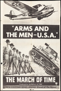 """The March of Time (RKO, 1940). Folded, Fine. Trimmed One Sheet (27"""" X 41""""). """"Arms and The Men - U.S.A.&qu..."""