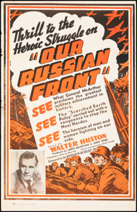 """Our Russian Front (Artkino, 1942). Folded, Fine+. One Sheet (27.5"""" X 42.5""""). War Documentary"""