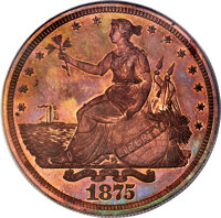 1875 T$1 Commercial Dollar, Judd-1424, Pollock-1567, Low R.7, PR65 Red and Brown PCGS. CAC....(PCGS# 71731)