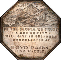 1901 $1 Lesher Dollar, Boyd Park, No Serial #, Silver, Z-10, HK-796a, R.7, MS63 Prooflike PCGS....(PCGS# 19013)