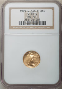 1999-W $5 Tenth-Ounce Gold Eagle, Unfinished Proof Dies, MS70 NGC. NGC Census: (421). PCGS Population: (68). CDN: $2,300...