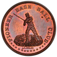 1858 Pioneer Base Ball Club, Springfield, MA, MS64 Red and Brown PCGS. Miller-Mass-529, Musante JAB-1. Copper. Deeply re...