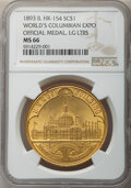 So-Called Dollars, 1893 World's Columbian Expo, Official Medal, Large Letter, HK-154, R.2, MS66 NGC. Brass, 37mm. ...