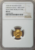 Lincoln, 1939 Medal New York World's Fair, Lincoln Gold Token, Brilliant, King-1203, HK-493a, R.5, MS65 NGC....