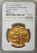 1901 Pan-American Exposition, Official Medal, HK-289, R.3, MS67 NGC. Brass, 34mm