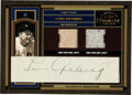 Baseball Cards:Singles (1970-Now), 2004 Donruss Timeless Treasures Lou Gehrig Signed Double Jersey Swatch Card (#1/1)....