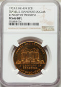 So-Called Dollars, 1933 Travel & Transport So-Called Dollar, Century of Progress, HK-474, R.4, MS66 Deep Prooflike NGC. Chicago, IL. Gilt....
