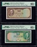 Afghanistan Bank of Afghanistan 2; 5 Afghanis ND (1939) / SH1318 Pick 21; 22 Two Examples PMG Gem Uncirculated 65
