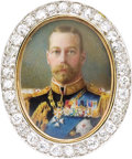 Jewelry, King George V Portrait Miniature Mounted as a Diamond Brooch. English, circa 1915. Depicting the Monarch in full dress... (Total: 2 Items)