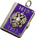 Silver Smalls:Other , Imperial Russian Enameled Silver Romanov Tercentenary Pendant inthe Form of a Miniature Photo Album. Stamped St. Petersbu...(Total: 2 Items)