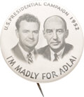 """Political:Pinback Buttons (1896-present), Adlai Stevenson: 1952 Jugate with a Supporter. 2""""..."""