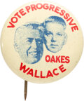 Political:Pinback Buttons (1896-present), Wallace & Oakes: Litho Coattail Jugate. ...
