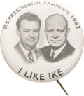 Political:Pinback Buttons (1896-present), Dwight D. Eisenhower: Real Photo Jugate with Supporter. ...