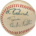 """Baseball Collectibles:Balls, Circa 1948 Babe Ruth Single Signed Baseball to Stepson of Producer/Director of """"The Babe Ruth Story.""""..."""
