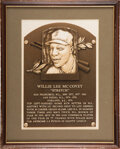 Baseball Collectibles:Others, 1986 Baseball Hall of Fame Induction Plaque Presented to Willie McCovey from The Willie McCovey Collection.... (Total: 3 items)