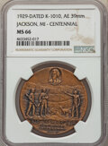 Lincoln, 1929-Dated Centennial Republican Party Medal, Jackson, Michigan, King-1010 MS66 NGC. Bronze, 39 mm....