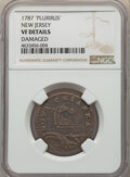 1787 NJERSY New Jersey Copper, PLURIRUS, M. 55-l, W-5300, High R.4, -- Damaged -- NGC Details. VF....(PCGS# 767836)