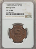 1787 NJERSY New Jersey Copper, No Sprig Above Plow, M. 39-a, W-5195, R.2, VF30 NGC. NGC Census: (0/0). PCGS Population:...