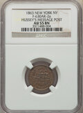 1863 Hussey's Message Post, Civil War Store Card, Fuld-630AK-2a, AU55 NGC. New York, NY. From the Dickson Collecti