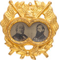 Political:Ferrotypes / Photo Badges (pre-1896), Greeley & Brown: Highly Desirable Ornate Ferrotype Jugate. ...