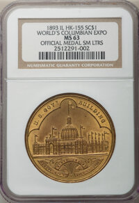 1893 World's Columbian Exposition, Official Medal, Small Letters, HK-155, Eglit-23a, R.2, AU58 NGC. Brass, 37 mm