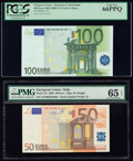 World Currency, European Union Central Bank, Italy 100; 50 Euro 2002 Pick 12s; 17s Two Examples PCGS Gem New 66PPQ; PMG Gem Uncirculated 6... (Total: 2 notes)