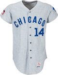Baseball Collectibles:Uniforms, 1969 Ernie Banks Game Worn Chicago Cubs Jersey, MEARS A10--Photo Matched!...