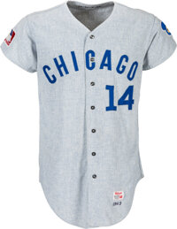 1969 Ernie Banks Game Worn Chicago Cubs Jersey, MEARS A10--Photo Matched!