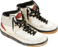 Basketball Collectibles:Others, 1987 Michael Jordan Game Worn & Dual-Signed Air Jordan II Sneakers--Forty Points on George Gervin Jersey Retirement Night!...