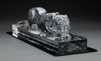 A Baccarat Glass Panther, France, late 20th century Marks: BACCARAT, (goblet-decanter-cup), FRANCE 5-3/4 x 20-1/4