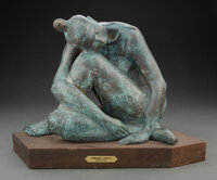 Armando Amaya (Mexican, 1935) Seated Nude, 1977 Bronze with blue-green patina 10 inches (25.4 cm) high on a 1-1/2 inc