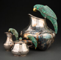 A Group of Three Emilia Castillo Silver-Plated and Malachite Parrot Handled Table Articles, Taxco, Mexico, late 20th cen...