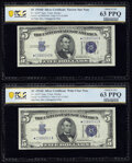 Changeover Pair Fr. 1654* $5 1934D Narrow/Wide I Silver Certificate Stars. PCGS Banknote Choice Unc 63 PPQ; Reverse Chan...